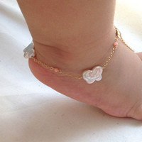 Kids/ Baby Jewelry - Mariposa-pretty butterfly shaped pearl anklet