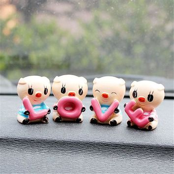 "4PCS Car Interior Decoration Ornament  Auto Supplier ""LOVE"" Lovely Pig Auto Resin Couple Doll Car Accessories For Gifts"