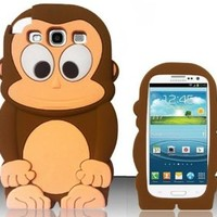 WwWSuppliers New Chocolate Brown Monkey Case for Samsung Galaxy S3 Brown 3D Silicone Cover + Free Screen Protector SHIPS NEXT DAY FROM USA