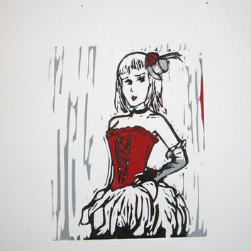 Woman wearing red corset single-block hand-pulled reduction linocut print red
