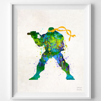 Ninja Turtles, Print, Watercolor, Michelangelo, Teenage Mutant, Poster, Art, Illustration, Watercolour, Giclee Wall, Kid, Comic, Decor