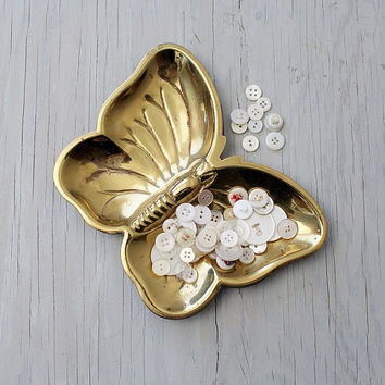 Vintage Brass Butterfly Trinket Dish - Catch All Dish - Selden Brass Keepsake Dish