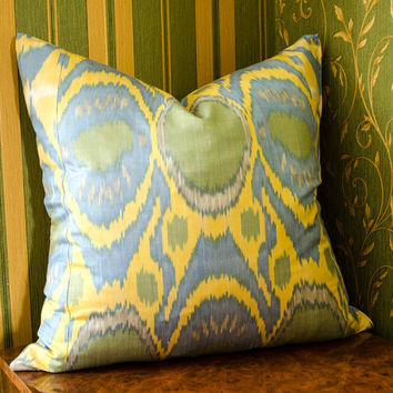 20 x 20 ikat pillow cover, Ikat Pillow, cream, blue, green, ikat, 20x20 Pillows, Pillowcases, ikat cushion, Home Decor, interior pillows