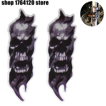 Motorcycle Universal Front Fork Skull Zombie Decals Graphic Stickers 2pcs For Harley Sportster Softail Dyna For Honda For Suzuki