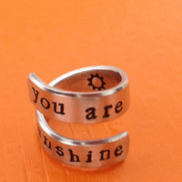 You Are My Sunshine Twist Ring - Adjustable Wrap Ring - Hand Stamped With Sun Ring