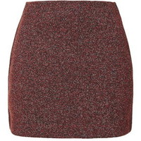 Herringbone Jersey A-Line Mini Skirt - Red