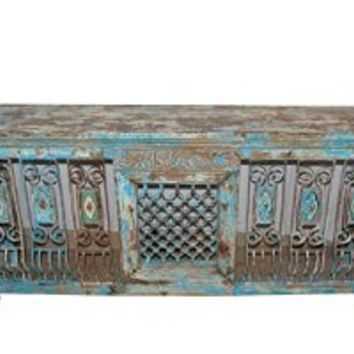 Antique Vintage Distressed Console Jali Table Hand Carved Buffet with original tiles Indian Furniture