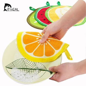 FHEAL Fruit Pattern Towel Absorbent Cleaning Cloth Kitchen Towel Handkerchief Quick-Dry Cleaning Rag Dish Cloth for Bathroom