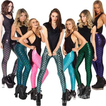 Fashion Sexy Women Mermaid Fish Scale Leggings High Elastic Stretch Workout Sporting Pants Fitness Trousers Legins Mujer