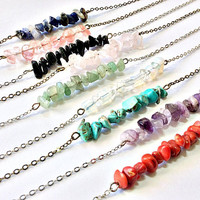 Gemstone Necklace: bar of chip beads