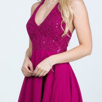 Fuchsia Lace Top Halter Short Party Dress