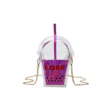 Women Novelty personalized boba drink soda bottles modeling narrow Dip unicorn tears  golden chains bag phone clutch bag