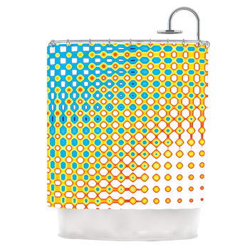 """Dawid Roc """"Psychedelic Art"""" Yellow Blue Shower Curtain"""
