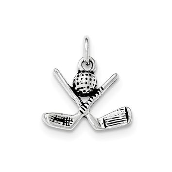 Sterling Silver Antiqued Golf Clubs & Golf Ball Pendant