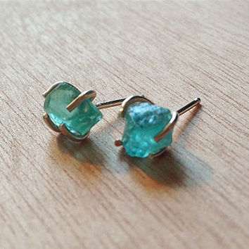 Sterling Silver Rough Cut Aquamarine Post Earrings