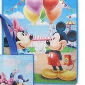 "8-pack Minnie Mouse and Mickey Mouse Tote Bag Set (Large 15""x16""x7"" Non-woven Reusable) AND 8 Winnie the Pooh Stickers (3""x6"") AND 8 Kooky Silicone Bracelets"