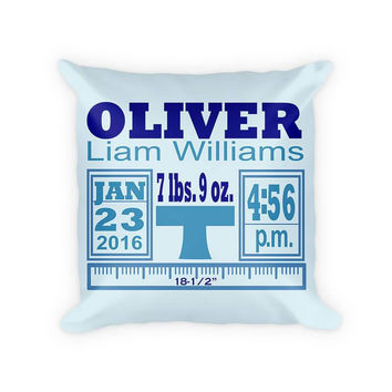 Baby Boy Birth Announcement II Cotton Poly Pillow
