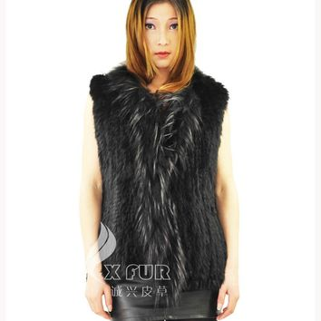 CX-G-B-118A New colors knitted real rabbit fur vest raccoon collar trim hand knitted coat Natural style