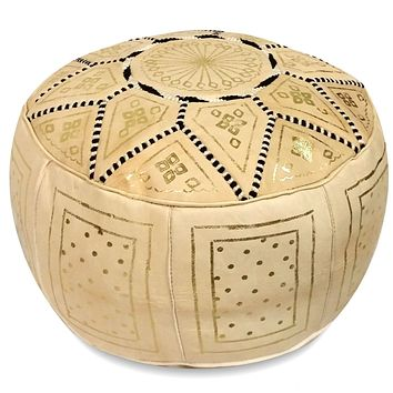 Beige Fez Moroccan Leather Pouf Round Genuine Leather