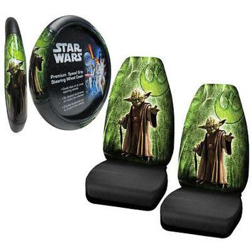 Licensed Official New Star Wars Yoda Jedi Master Car Truck Front Seat Covers Steering Wheel Cover