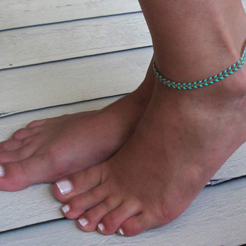 Turquoise Anklet - Turquoise Ankle Bracelet - Arrow Anklet - Foot Jewelry - Foot Bracelet - Chain Anklet - Summer Jewelry - Beach Jewelry