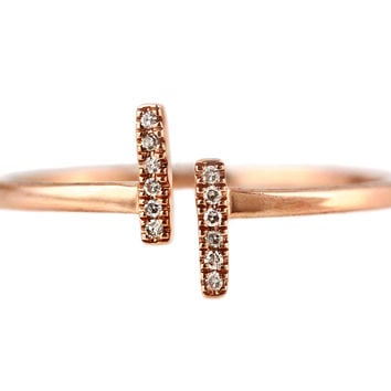 0.04ct Pavé Round Diamonds in 14K Gold Double Bar T Cuff Ring