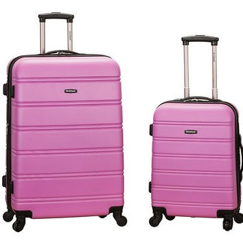 "F225-PINK 20"", 28"" 2Pc Expandable Abs Luggage Spinner Set"