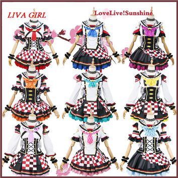Liva girl Love Live Sunshine Aqours Kunikida Hanamaru Ruby Maid Apron Dress Uniform Outfit Anime Cosplay Costumes Custom Made
