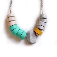 Misty Teal Ombre  Necklace, Geometry in Teal, White Sand, Mustard Yellow, Grey - Color Block Handmade Necklace - Fall/Winter Trends Preview