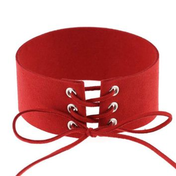 Atomic Red Velvet Lace-up Wide Choker