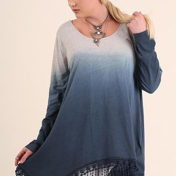 Women's Plus Dip Dye Tunic with Fringe Hemline