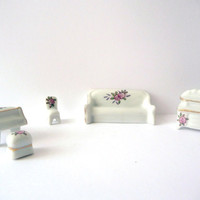 Vintage Piano and Sofa - Porcelain Miniatures - 5 items - Living Room Small Furniture