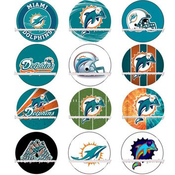 50pcs Charm Sport Team Miami Dolphins Football Snap Button Charms Fashion Fit For DIY Bracelet&Necklace Accessories Jewelry