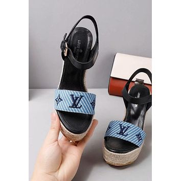 LV Louis Vuitton Trending Women Stylish Princess High Heels-Heeled Shoes Sandals Blue I-ALS-XZ