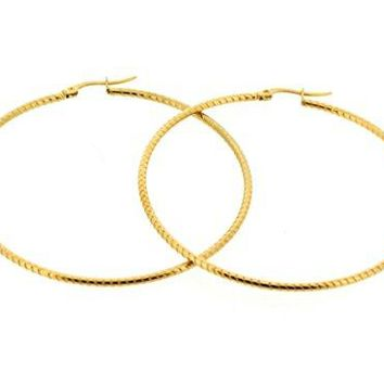 Ben and Jonah Stainless Steel Gold Plated Spiral Design Hoop Earring (55mm)