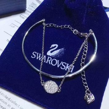 SWAROVSKI New fashion round diamond chain bracelet women Silver