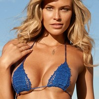 Beauty & the Beach Itsy Bitsy Crochet Bikini Top in Sapphire