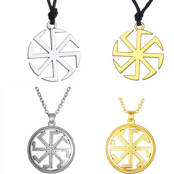 Dawapara Slavic Kolovrat Amulet Pagan Sun Talisman Bijouterie China Power Male Ethnic Slavic Pendant Necklace Men Jewelry