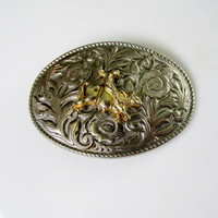 Gold Bull Rider Belt Buckle On Engraved Silver Tone Metal Southwestern Design Collectible Gift Item 2366