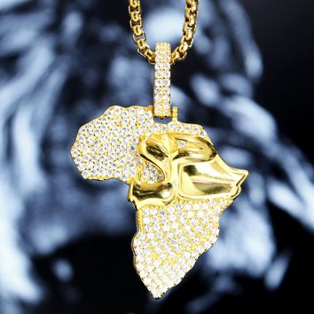 Designer Africa Map Iced out Lion Pendant Box Chain