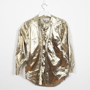 Vintage 80s Blouse Glam GOLD Metallic Paper Thin Shirt Long Sleeve Draped Oversized Blouse Shiny Reflective New Wave 1980s Top S M Medium
