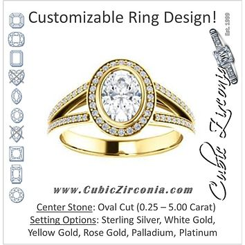Cubic Zirconia Engagement Ring- The Maritza (Customizable Bezel-Halo Oval Cut Style with Pavé Split Band & Euro Shank)