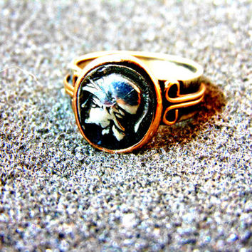 Stunning vintage men's ring-Silver and gold antique ring-Ancient coin signet ring-Ares God of war ring-18k gold signet ring- Greek God ring