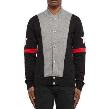 DCCKG5T Givenchy black red star men's baseball jacket sweater