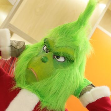 Xcoser How the Grinch Stole Christmas Grinch Mask Deluxe Latex Green Full Head Mask New