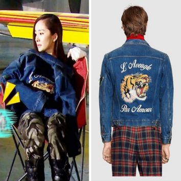 """""""Gucci"""" Women Fashion Tiger Letter Embroidery Long Sleeve Jacket Coat"""