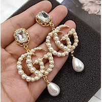 GUCCI Fashion New Pearl Diamond Letter Earrings
