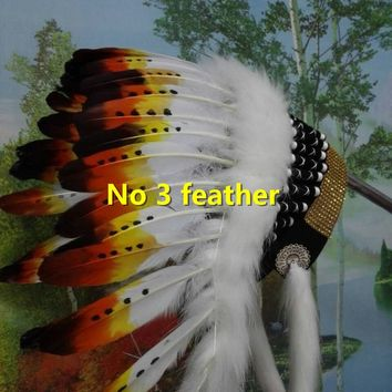 21 inch Indian feather Headdress indian feather warbonnet halloween bonnet chief hat bonnet for halloween paty supply