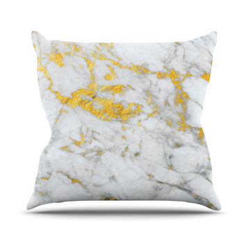"KESS Original ""Gold Flake"" Marble Metal Outdoor Throw Pillow"