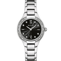 Bulova Ladies 26 Diamond Maiden Lane Watch - Black Dial - Stainless - Bracelet